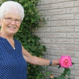 Dorothy with one of her many beautiful flowers