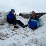 Clara and Owen enjoy Hot chocolate after Snowshoe/hike