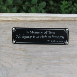 Dedication on a bench hand made by Avon Trail member.