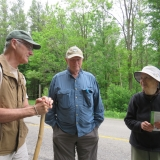 President Bernard Goward, Hike Leader Dick Pullin and landowner Jane Schneider.