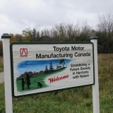 Extension of existing trail and signage provided by Toyota Plant