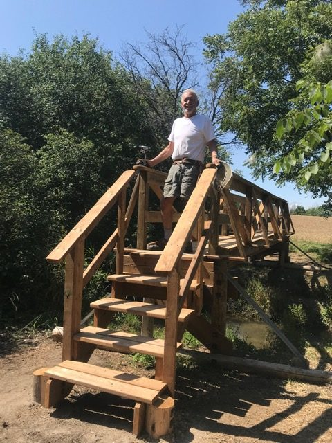 All done. Ted standing on completed Bamberg Bridge