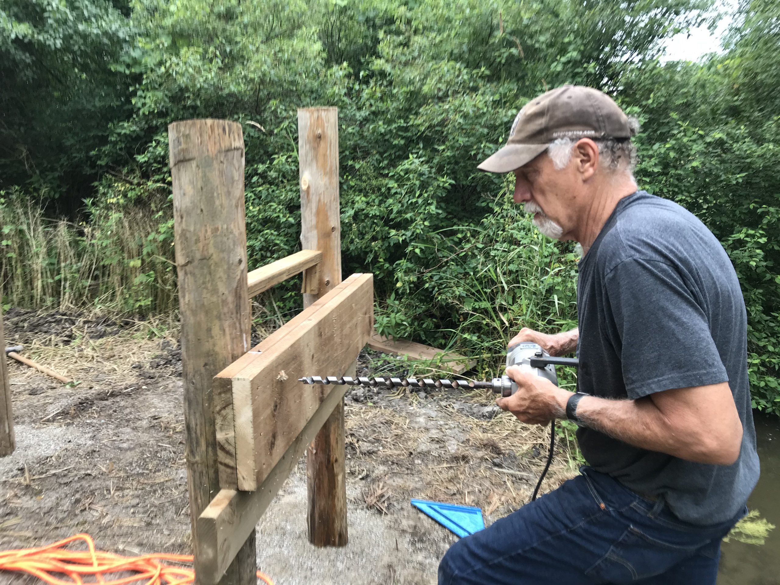Tues July 21 - Ted drills for cross members