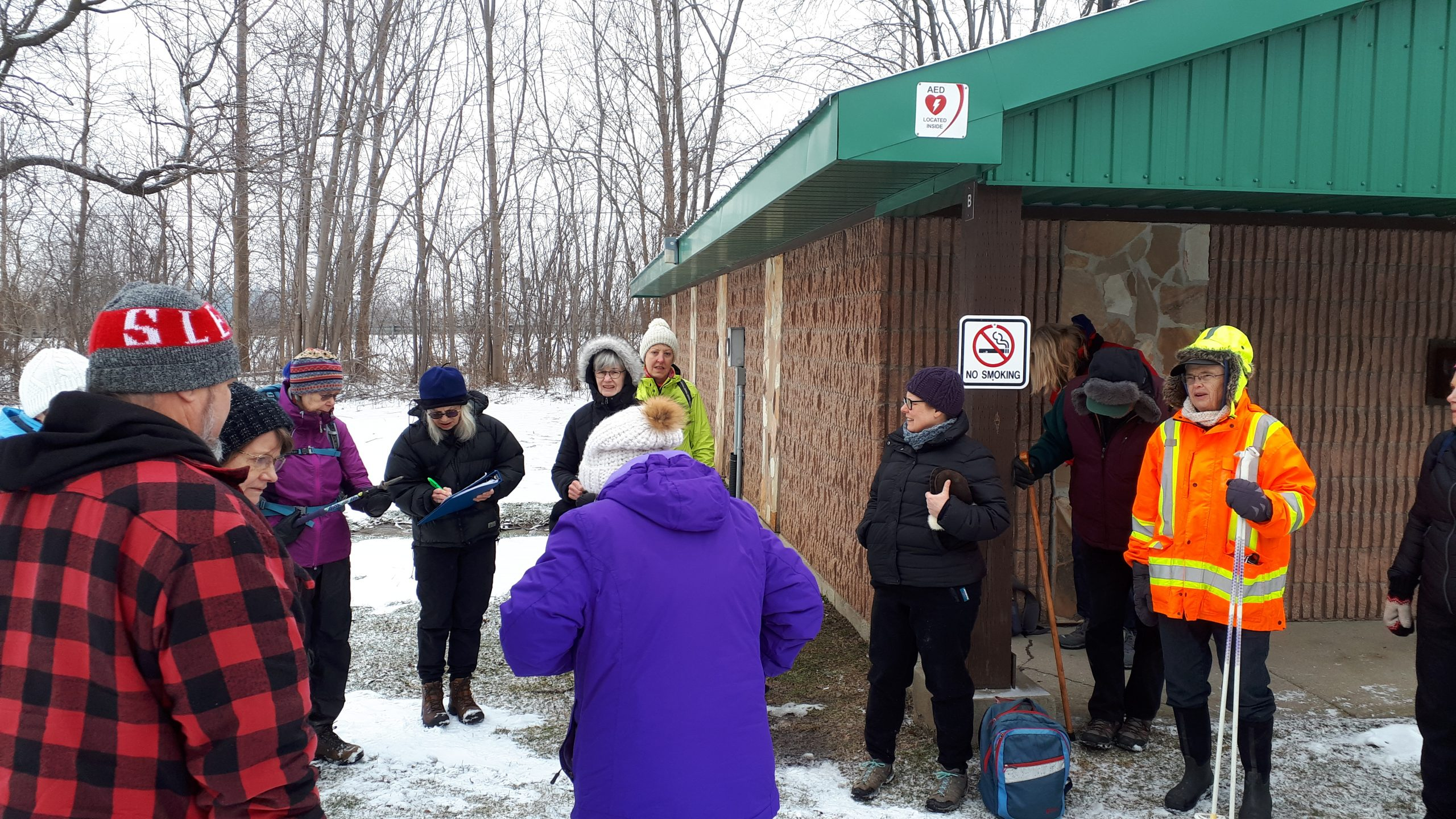 Signing up before starting hike.
