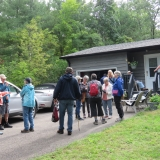 Hikers gathered at the Antonio's Cottage