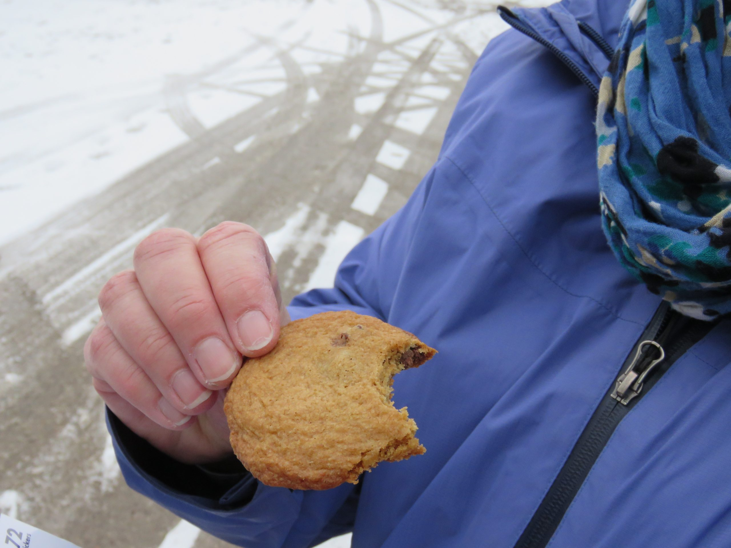 Yummy homemade cookies and hot chocolate at the finish.