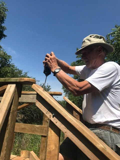 Ted working on step railing