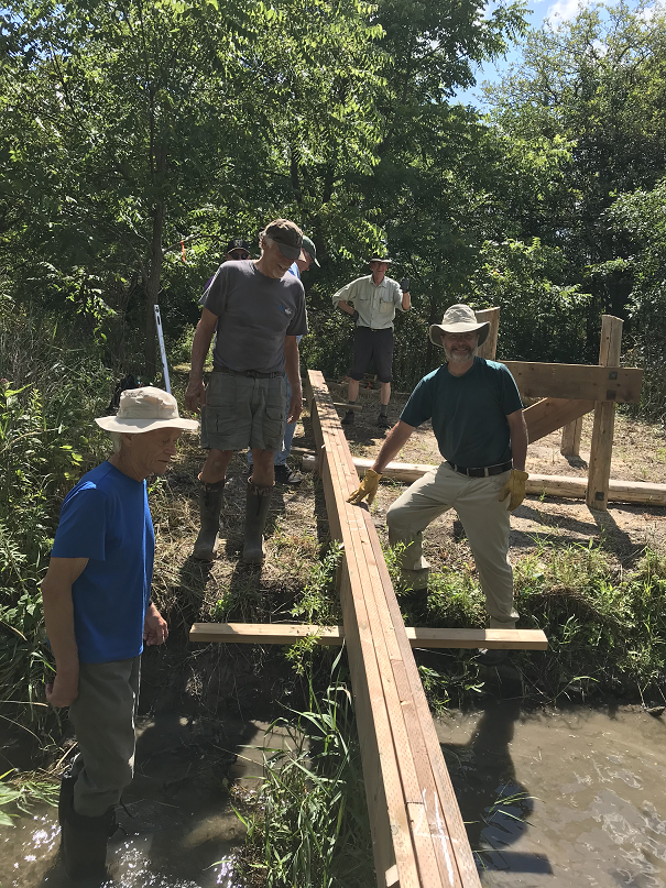 Thurs July 31 - work team preparing beam installation -3