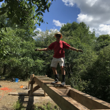 Thurs  July 30 - Bernard balancing on the beams - 8