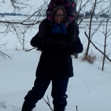 Anna gets a lift - the easy way to snowshoe